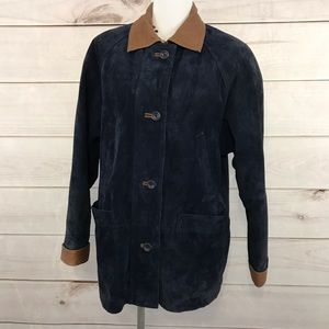 TALBOTS Blue Suede Leather Coat Size Petite Small
